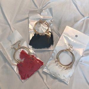 Jewelry - Set of 3 pairs of tassel earrings. Red/Black/White
